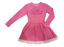 Платье розовое в горох, рюша, р.122