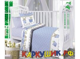 Комплект постельного белья, хлопок 100%, голубой